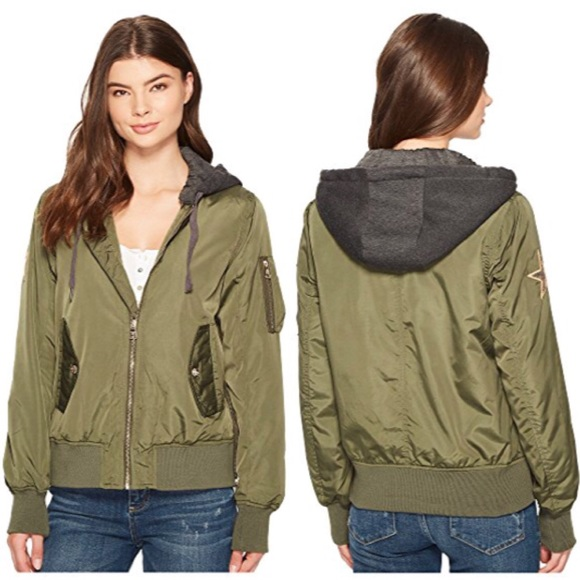 on wholesale fine quality good looking Madden Girl Hooded Bomber Jacket NWT